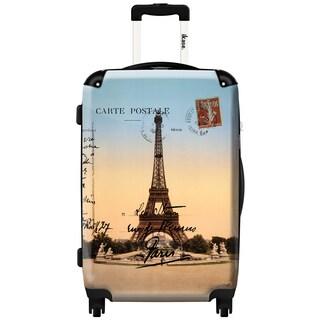 iKase 'Eiffel Tower Sunset' 20-inch Fashion Hardside Carry-on Spinner Suitcase