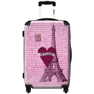 iKase Paris I Love You! Multicolor Microfiber/Aluminum/Nylon/Polycarbonate 20-inch Fashion Hardside Carry-on Spinner Suitcase