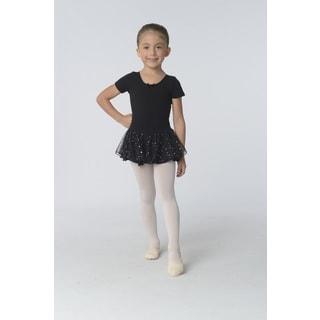 Danshuz Girls' Black/Pink/Purple Cotton/Nylon Short Sleeve Dress