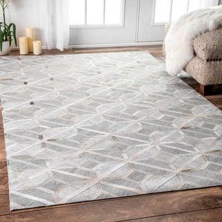 nuLOOM Handmade Modern Overlapping Geometric Leather/ Viscose Grey Rug (9' x 12')