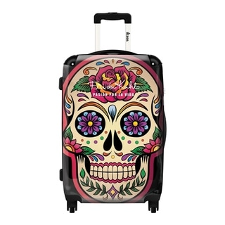iKase Frida Kahlo Flower Skull 20-inch Fashion Hardside Carry-on Spinner Suitcase