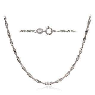 Mondevio 14k White Gold 1.4mm Singapore Italian Chain Necklace, 20 Inches