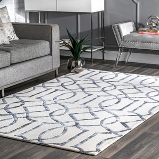 nuLOOM Handmade Interlocking Trellis Wool/ Viscose Silver Rug (8'6 x 11'6)