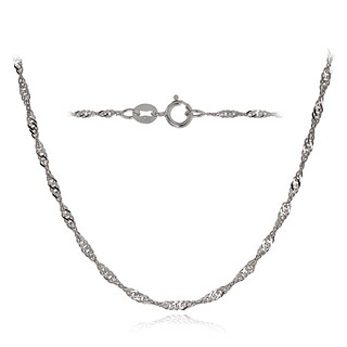 Mondevio 14k White Gold 1.4mm Singapore Italian Chain Necklace, 24 Inches