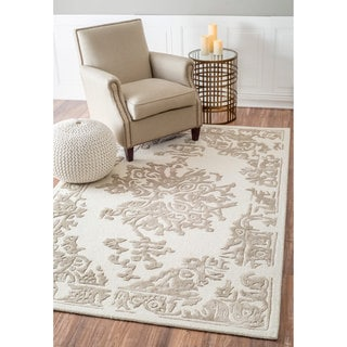 nuLOOM Handmade Raised Floral Medallion Wool/ Viscose Tan Rug (8'6 x 11'6)