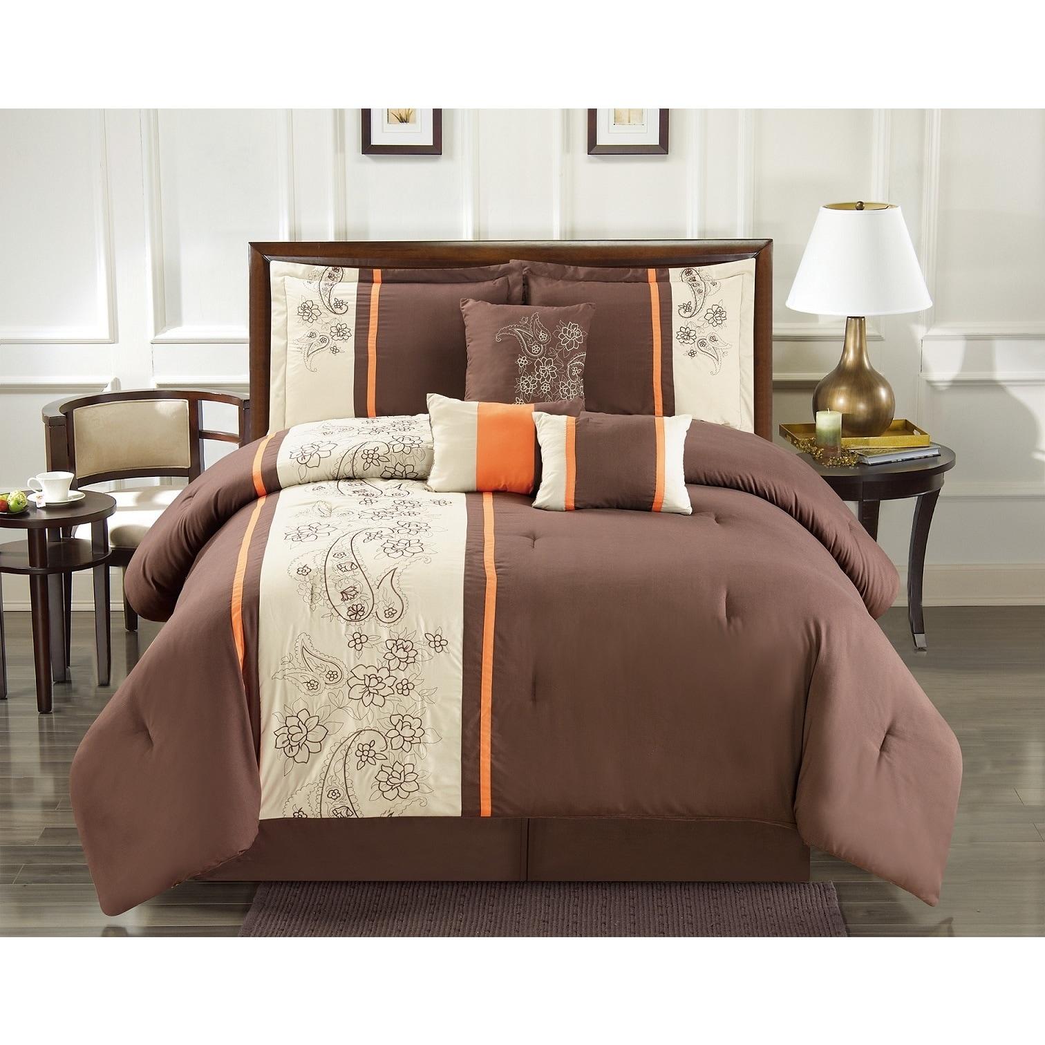 Elegant Jacquard Brown Copper Floral Paisley 7 pcs Cal King Queen Comforter Set