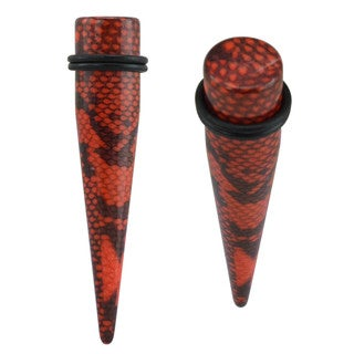 Supreme Jewelry and Accessory Red Acrylic Snake Skin Ear Expander Plug Pair