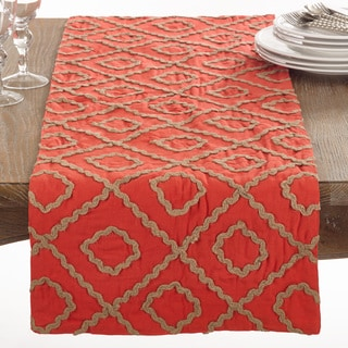 La Rochelle Collection Jute Embroidered Design Table Runner