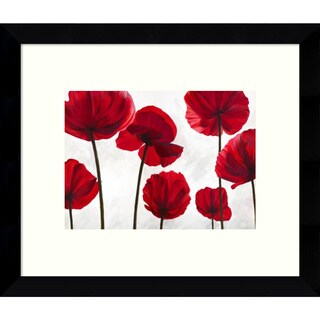 Luca Villa 'Red Friends (Poppies)' 11 x 9-inch Framed Art Print
