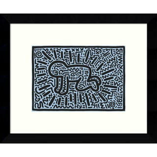 Framed Art Print 'Kh18 (Crawling Child)' by Keith Haring 11 x 9-inch