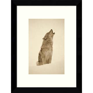 Tim Fitzharris 'Timber Wolf portrait, howling in snow, North America - Sepia' 9 x 11-inch Framed Art Print