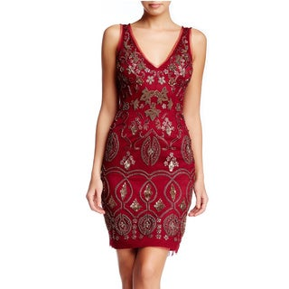 Lotus Threads Women's Fleur-de-Lis Blue/Red/Beige Polyester V-neck Dress
