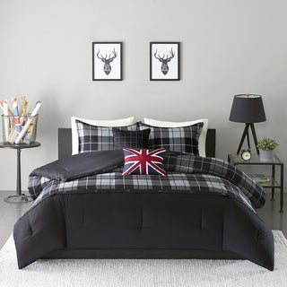 intelligent design hunter black grey 5piece comforter set