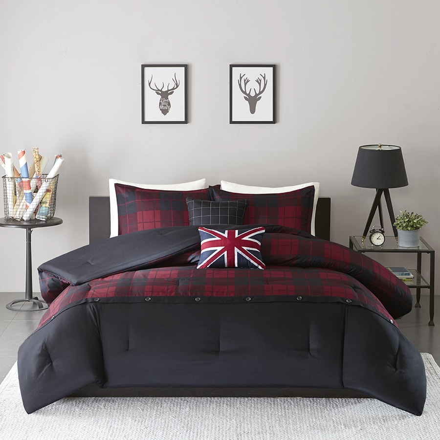 Intelligent Design Hunter Red/Black 5-piece Comforter Set - Free ...