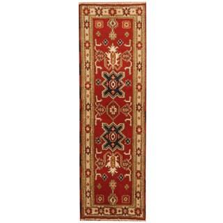 Herat Oriental Indo Hand-knotted Kazak Wool Runner (2' x 6'7)