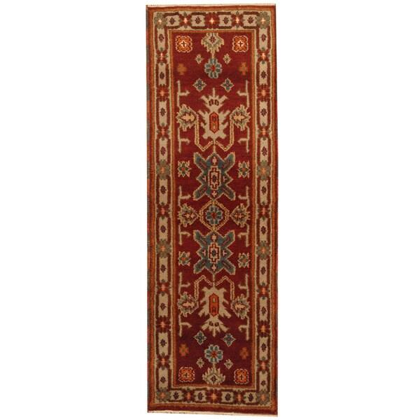 Handmade Herat Oriental Indo Kazak Wool Runner (India) - 2'2 x 6'6