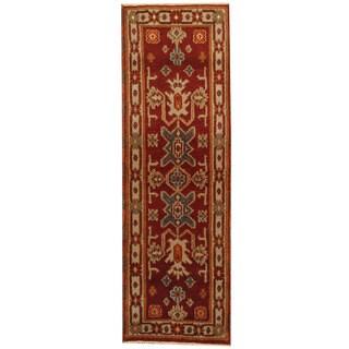 Herat Oriental Indo Hand-knotted Kazak Wool Runner (2'2 x 6'6)