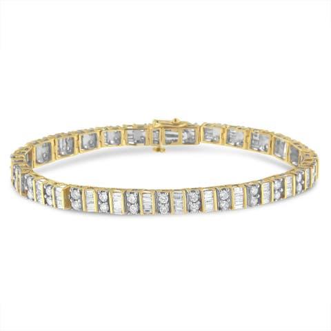 14K Yellow Gold 4.00ct. TDW Round and Baguette-cut Diamond Tennis Bracelet(I-J, I1-I2)