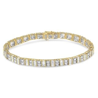 14K White or Yellow Gold 4ct TDW Baguette and Round-Cut Diamond Tennis Bracelet (I-J, I1-I2)