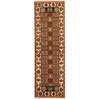 Handmade Herat Oriental Indo Kazak Wool Runner (India) - 2'2 x 6'9