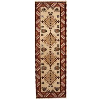 Herat Oriental Indo Hand-knotted Kazak Wool Runner (2'2 x 6'9)