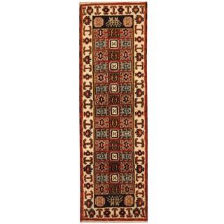 Herat Oriental Indo Hand-knotted Kazak Wool Runner (2'1 x 6'9)