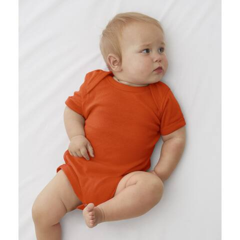 Rabbit Skins Orange Cotton/Polyester Baby Rib Lap Shoulder Infant Bodysuit