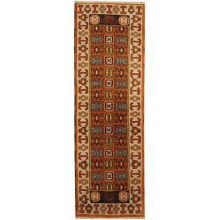 Herat Oriental Indo Hand-knotted Kazak Wool Runner (2'2 x 6'7)