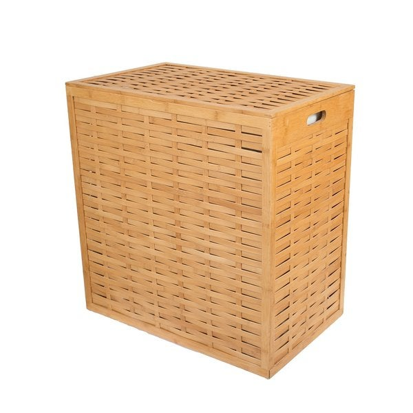 Birdrock Home Bamboo Divided Hamper With Liners Free