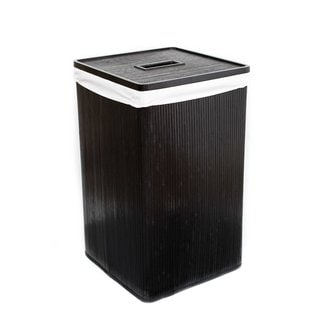 BirdRock Home Black Bamboo Dark Squared Laundry Hamper