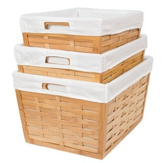 BirdRock Home 3-piece Bamboo Nesting Baskets With Liners - Champagne