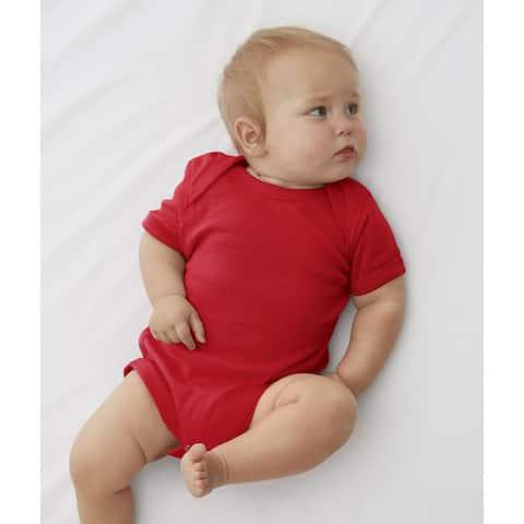 Rabbit Skins Red Cotton/Polyester Baby Rib Lap Shoulder Infant Bodysuit