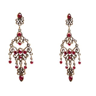 Colored Cubic Zirconia Chandelier Earrings