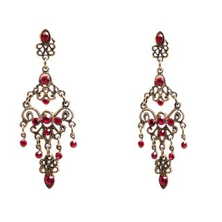 Handmade Colored Cubic Zirconia Chandelier Earrings (China)