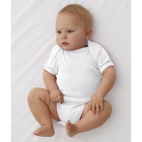 Rabbit Skins White Cotton/Polyester Rib Lap Shoulder Infant Bodysuit