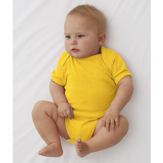 Rabbit Skins Infant's Yellow Rib Lap Shoulder Bodysuit