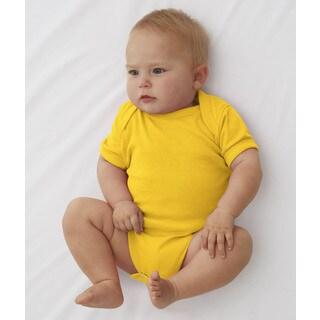 Rabbit Skins Infant's Yellow Rib Lap Shoulder Bodysuit