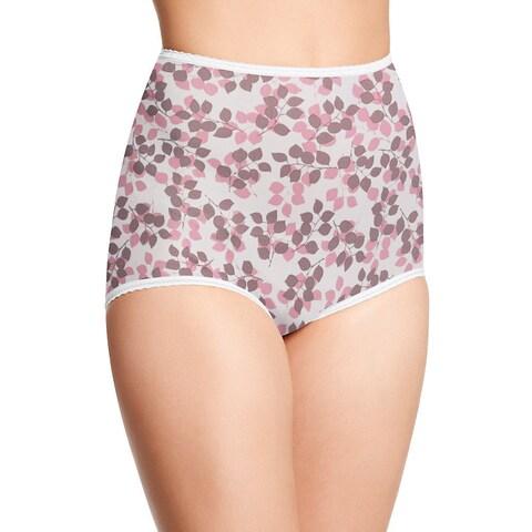 Skimp Skamp Women's Pink/Brown Nylon/Cotton/Spandex Tender Bud Print Brief Panty