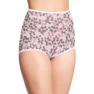 Skimp Skamp Women's Pink/Brown Nylon/Cotton/Spandex Tender Bud Print Brief Panty