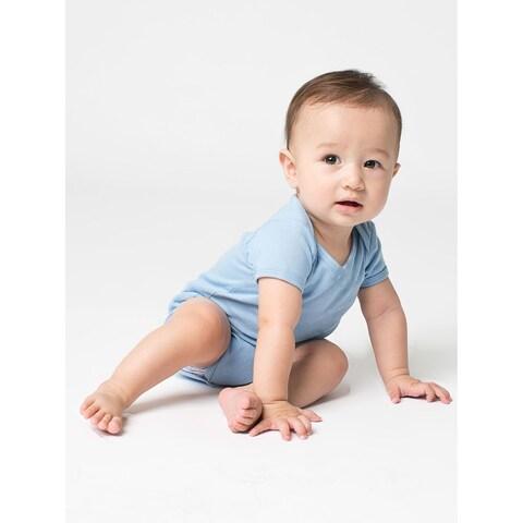 American Apparel Infant's Baby Blue Rib Short-sleeved Bodysuit