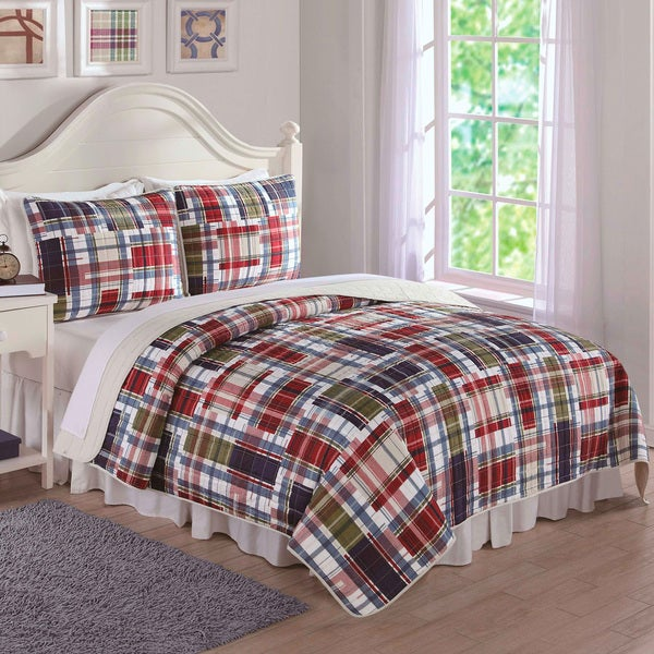 Laura Hart Kids Preppy Plaid 3-piece Quilt Set - Free Shipping ... : plaid comforters and quilts - Adamdwight.com