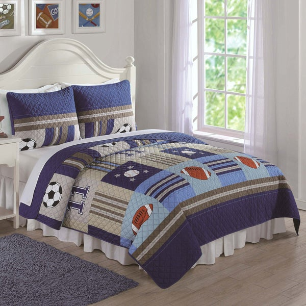 Laura Hart Kids Denim And Khaki Sports 3 Piece Quilt Set