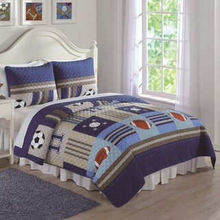 Laura Hart Kids Denim and Khaki Sports 3-piece Quilt Set (2 options available)