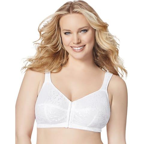 Just My Size Women's White Nylon Front-close Wire-free Bra