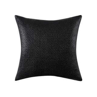 Vince Camuto Taos Black Faux-leather Coated 20-inch Square Throw Pillow