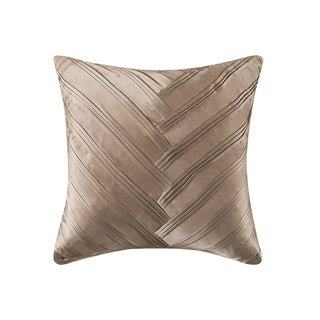 Vince Camuto Signature Beige Polyester/Feather 16-inch x 16-inch V-pleat Decorative Throw Pillow