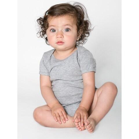 American Apparel Grey Cotton/Polyester Rib Short Sleeve Heather Infant Bodysuit