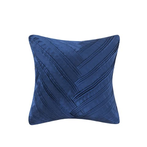 Vince Camuto Lyon Signature Polyester/Feather V-pleat 16-inch Square Throw Pillow