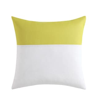 Vince Camuto Basel White and Yellow Cotton and Chiffon 18-inch x 18-inch Sheer Overlay Square Throw Pillow