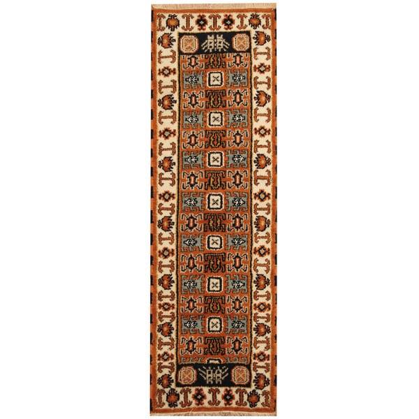Handmade Herat Oriental Indo Kazak Wool Runner - 2'1 x 6'8 (India)